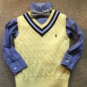 Polo vest shirt & bow tie Great for Easter 🤩